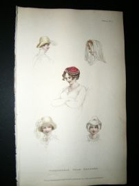 Ackermann 1811 Hand Col Regency Fashion Print. Fashionable Head Dresses 5-37